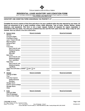 Printable texas residential lease inventory and condition form ...