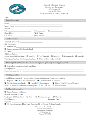 Printable Mail-in Donation Form - Cascade Christian Schools