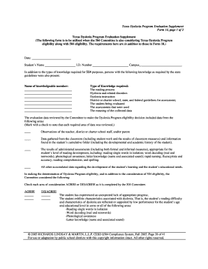 Texas Dyslexia Program Evaluation Supplement Form 14, page 1 of ...