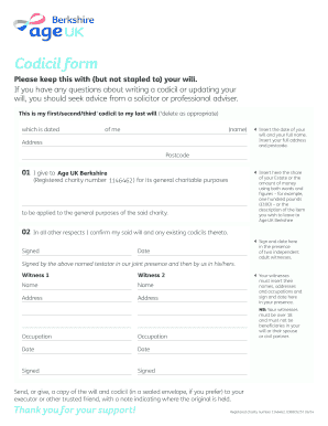 free printable codicil form uk  Fillable Online Codicil form, to make simple changes to your ...