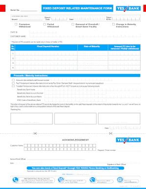 Fillable Online yesbank FIXED DEPOSIT RELATED MAINTENANCE FORM - Yes on teacher application form, bank information form, bank employment application form, chase bank application form, bank loan application form, sample bank statement form, business application form, bank check register form,
