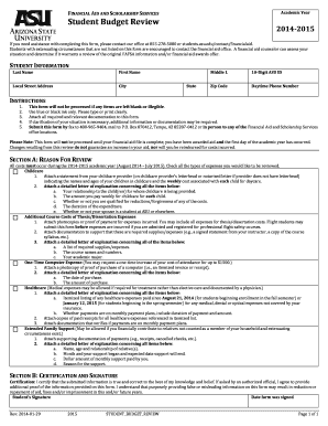 2014-2015 Student Budget Review form - ASU Students Site - students asu