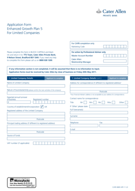 Application Form Enhanced Growth Plan 5 For Limited Companies