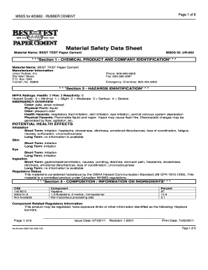 Fillable Online MSDS for 23902 - RUBBER CEMENT Material