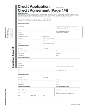 Credit Application (PDF) - American Apparel