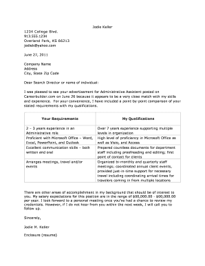 T Format Cover Letter Sample III