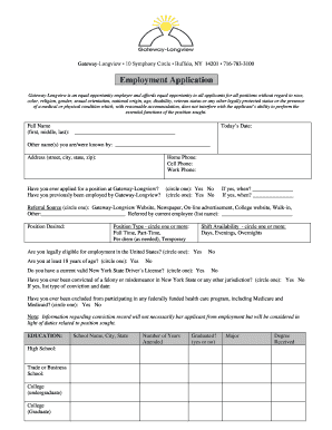fillable online gateway longview employment application pdf