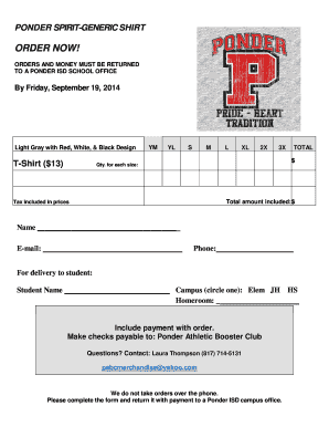 t shirt order form template pdf - Fillable & Printable Samples for ...
