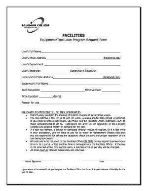 Fillable Online palomar Equipment/Tool Loan Program Request Form ...