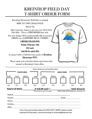 KREINHOP FIELD DAY T SHIRT ORDER FORM