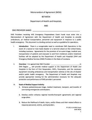 Memorandum of agreement moa louisiana hospital association fill preview of sample platinumwayz