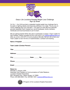 Geaux Lite Louisiana Hospital Weight Loss Challenge Sign-up Sheet - lhaonline