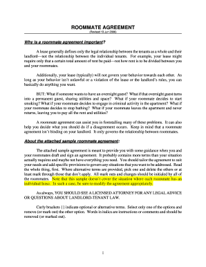 Sample Roommate Agreement - BCR Property Management