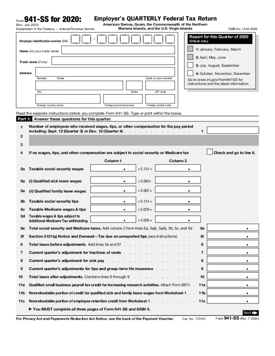monthly 941 form