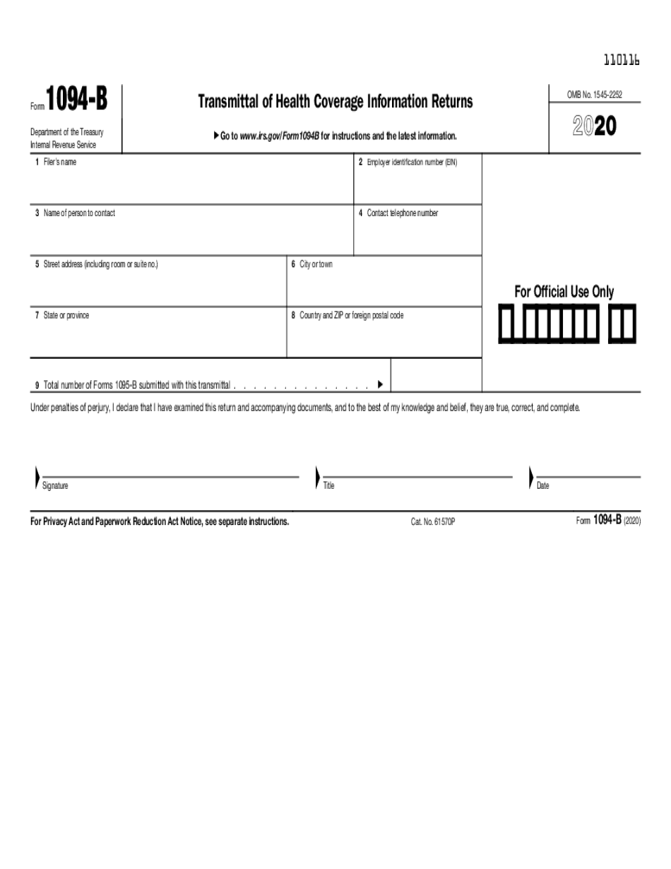 Fill Form 1094 B Agencies