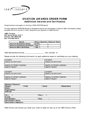 fillable online ovation awards order form iabc toronto fax email