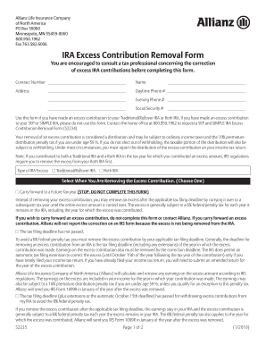 Fillable Online IRA Excess Contribution Removal Form - Allianz ...