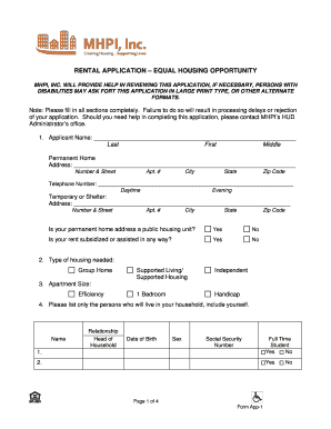 equal housing opportunity rental application