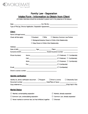 Intake Form Information to Obtain from Your Client - DivorceMate