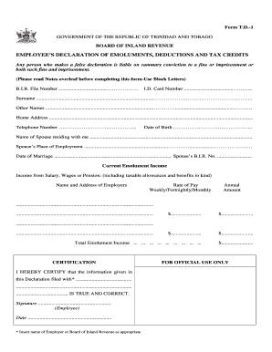 Trinidad Td1 Form - Fill Online, Printable, Fillable, Blank ...