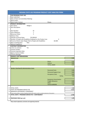 Sample Product Cost Analysis Form - Smart Partners Alliance - smartpartnersalliance