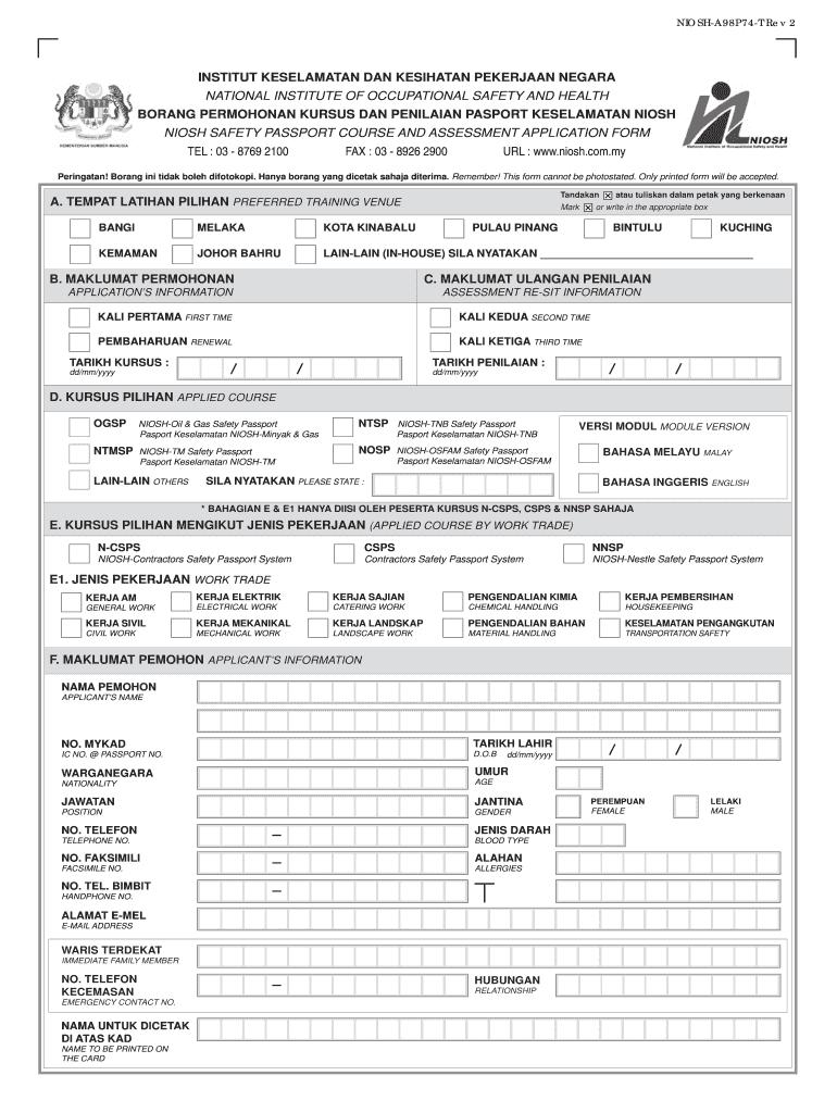Jadual Kursus Niosh 2021 Fill Online Printable Fillable Blank Pdffiller