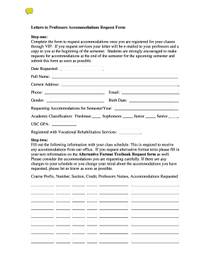 Letter to Professor Accommodation Request Form - USC Sumter