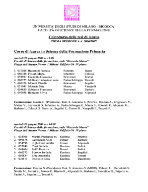 Calendario Bicocca.Fillable Online Calendario Tesi Form Primaria Giugno 2007