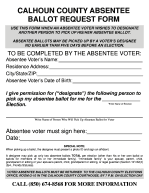 CALHOUN COUNTY ABSENTEE BALLOT REQUEST FORM