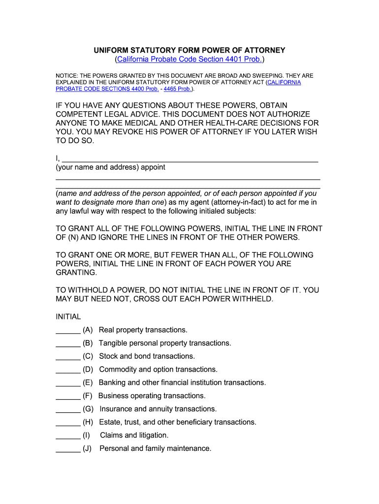 California Uniform Statutory Form Power Of Attorney - Fill ...