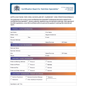 CNS to CNS-S Application - Certification Board for Nutrition