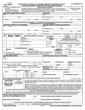 Fillable Online ACCORD FORM 64-DCPIF FORM NO.1 FIRE Insurance ...