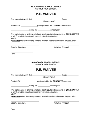 Fillable Online asdk12 PE Waiver Form Fax Email Print - PDFfiller