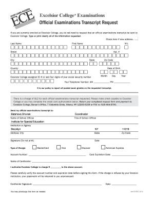 excelsior college transcript request Excelsior College Transcript Request - Fill Online, Printable ...