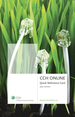 CCH Online Quick Reference Card - CCH Canadian - cch