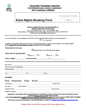 Download Extra Nights Form - Principals' Training Center - theptc