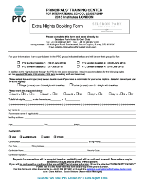 Extra Nights Booking Form - Principals' Training Center - theptc