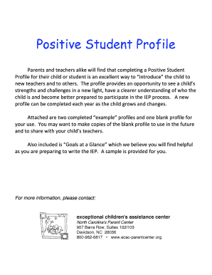 fillable online positive student profile pdf exceptional children