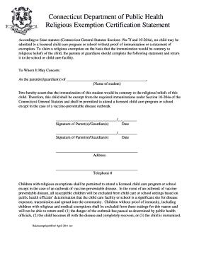 Religious exemption immunization connecticut state department bb preview of sample cert altavistaventures Gallery