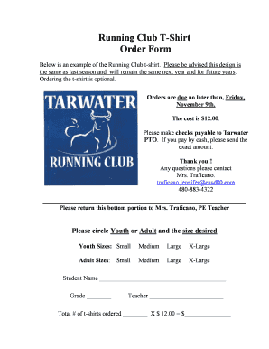 Running Club T Shirt Order Form Fill Online Printable