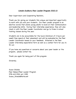 Thank you letters after internship experience forms and templates cooperating teacher form lincoln sudbury regional high school expocarfo