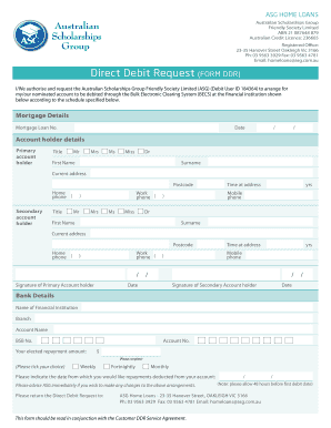 Direct Debit Request (FORM DDR) - ASG