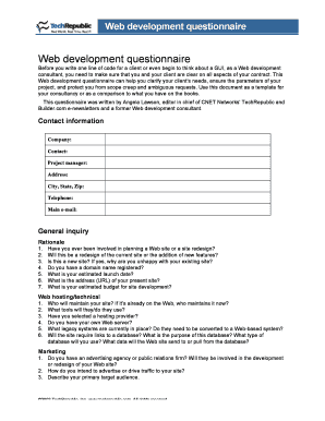 web development client questionnaire