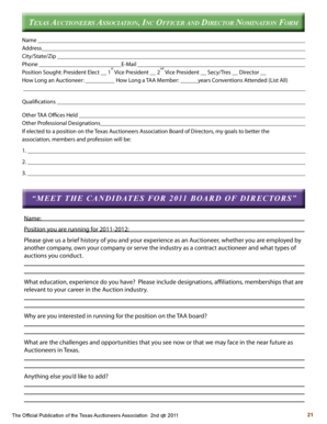 Texas Auctioneers Association, Inc Officer and Director Nomination Form - texasauctioneers