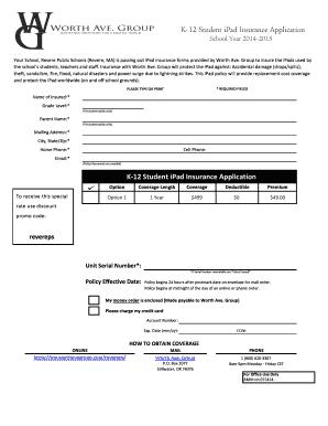 www revereps mec edu Fillable Online revereps mec (MA) 2014-15 Student iPad Insurance ...