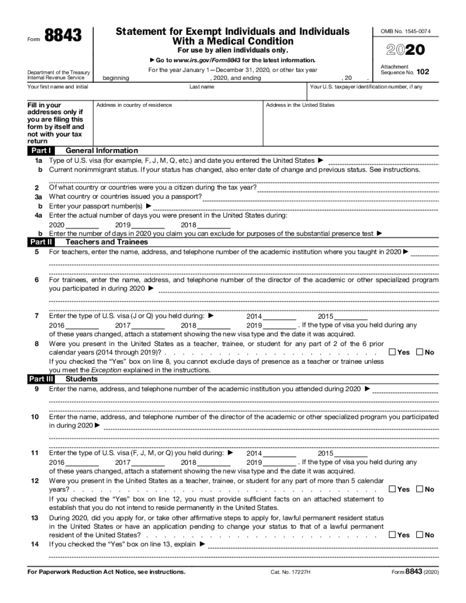 form 8843 due date 2020 - 2021