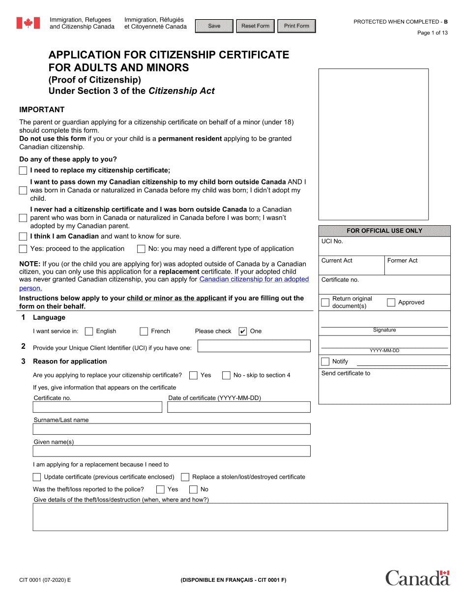 Canada CIT 0001 E 2021 Form - Printable Blank PDF Online