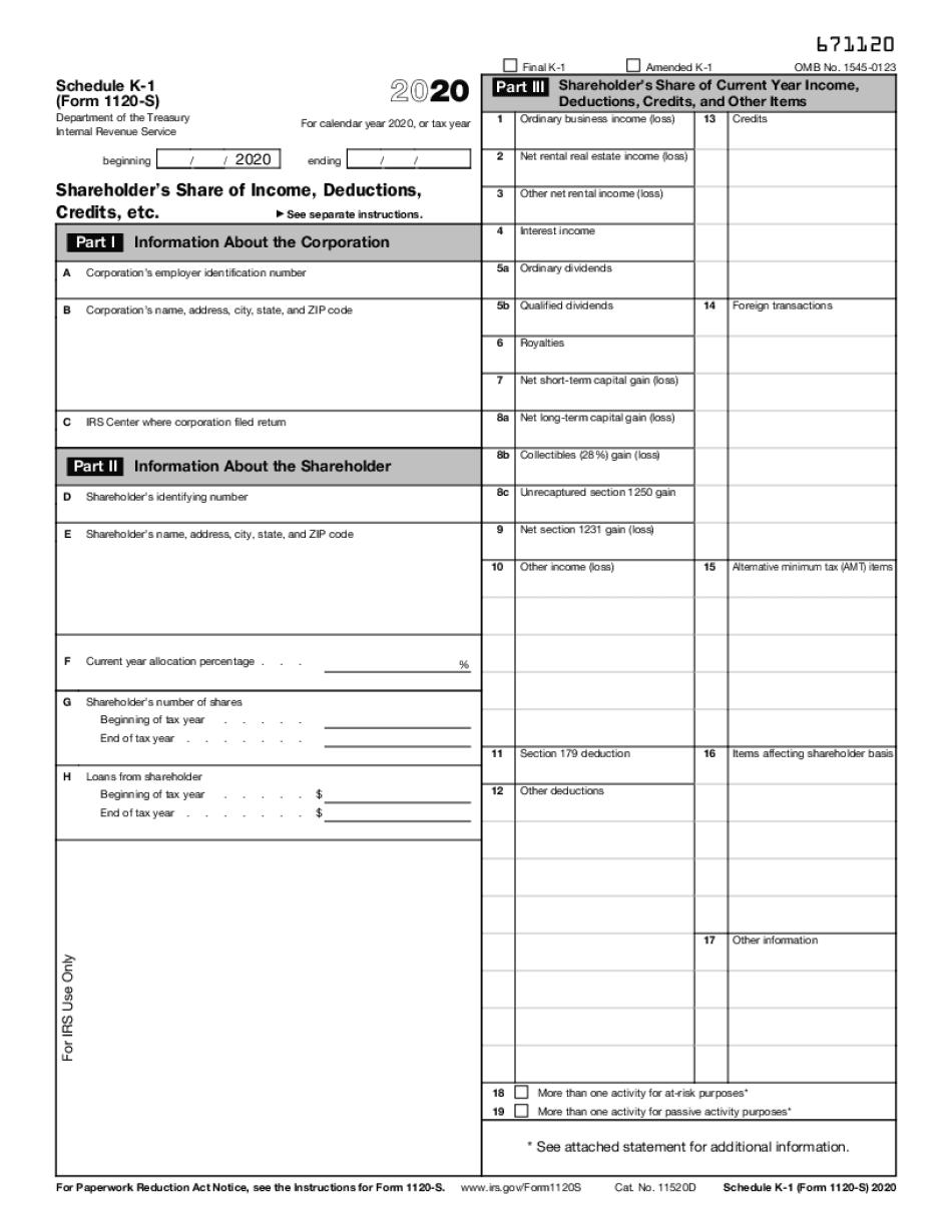 schedule k-1 1120s 2020