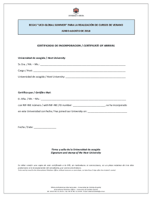 Fillable Online Certificado De Incorporacion Certificate Of Arrival Uco Fax Email Print Pdffiller