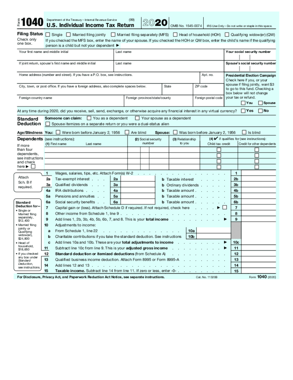 irs form 1040a 2020 - 2021